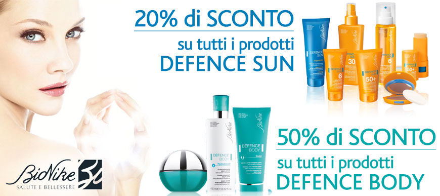 Sconti fino al 50% sui prodotti Bionike Defence Body e Defence Sun